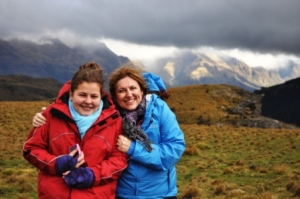 Miss T & I rugged up on Queenstown Hill, April 2011