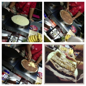 Banana pancakes & nutella from behind Gracelands 45bht