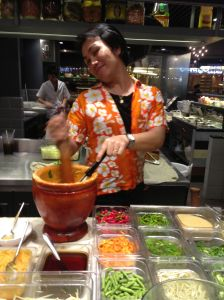 papaya salad making, Siam centre