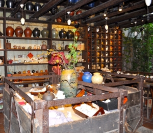 goods on display in an old miners pushcart. Jiufen teahouse...