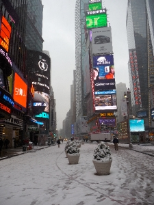 Broadway in the snow