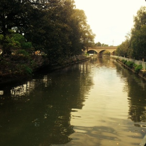 looking up the canal to the railway viaducts