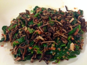 pelecing kangkung- spinach with tomato sambal