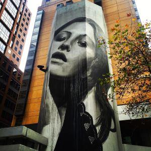Street art by Rone in Little Collins St...