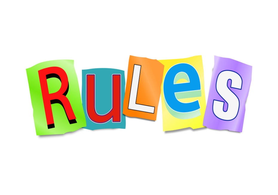 Illustration depicting a set of cut out letters formed to arrange the word rules.