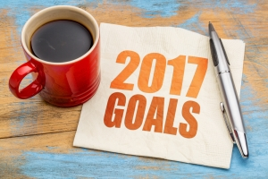2017 goals word abstract on napkin